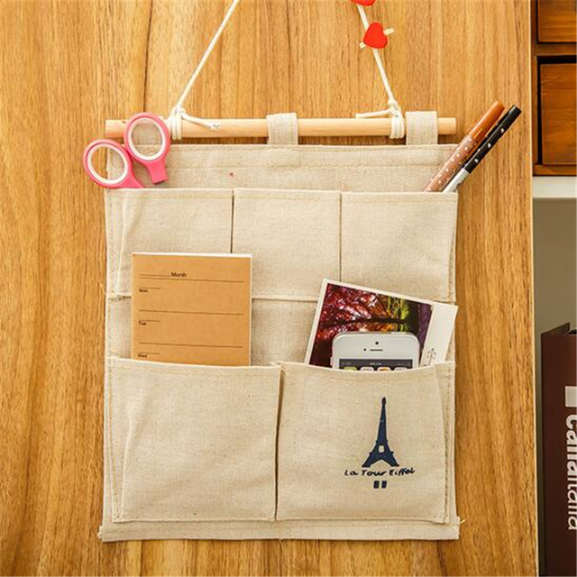 Linen Cotton Storage Bag 5 Pocket Wall hanging closet organizer