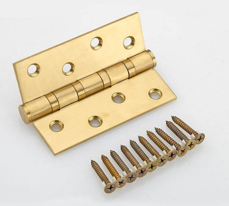 4''X4''X3mm Stainless Steel Gold Mute Door Hinges Heavy Duty Hinges New 1 pair viborg sus304 stainless steel heavy duty self closing invisible spring closer door hinge invisible hinges jv4 gs58b