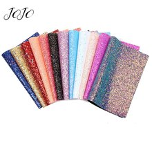 JOJO BOWS 22*30cm Sparkly Chunky Glitter Fabric Solid Elastic Sheet For Craft Clothing Sewing Material DIY Hair Bow Party Decor цена