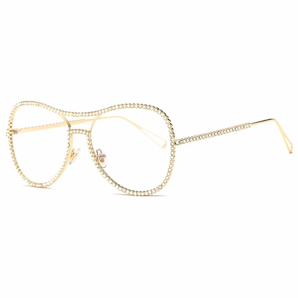 HBK Percontohan Sunglasses Wanita Dekorasi Berlian Imitasi Merek - Aksesori pakaian - Foto 5