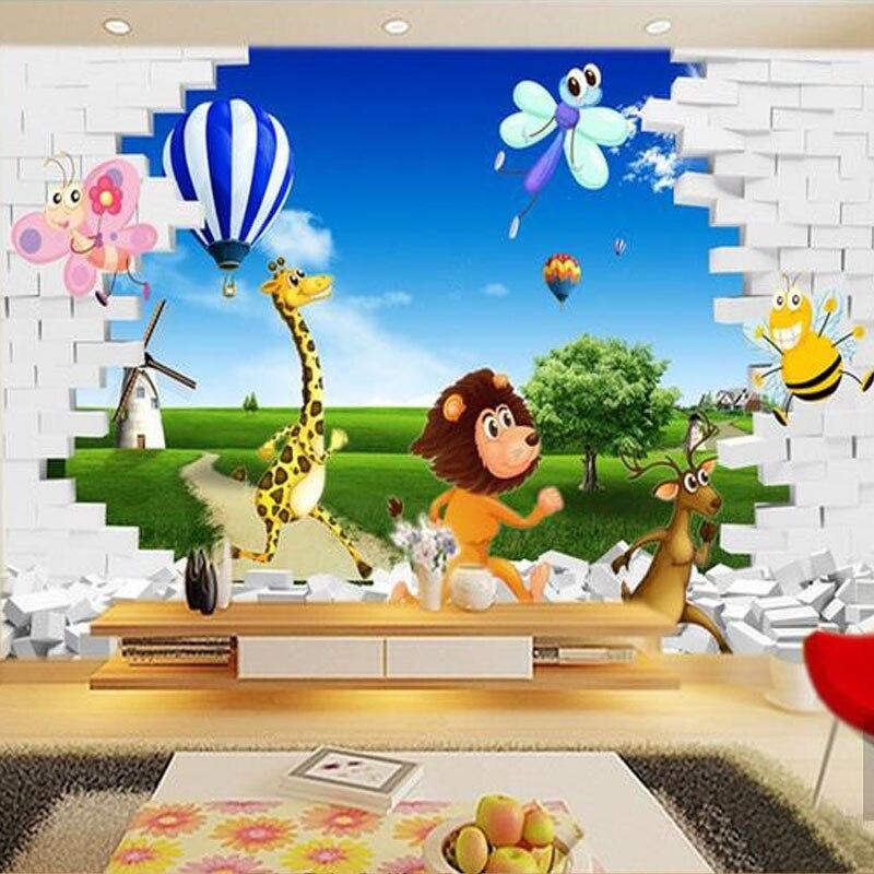 buy custom murals wallpaper 3d stereo cartoon animal lion nature scenery large. Black Bedroom Furniture Sets. Home Design Ideas