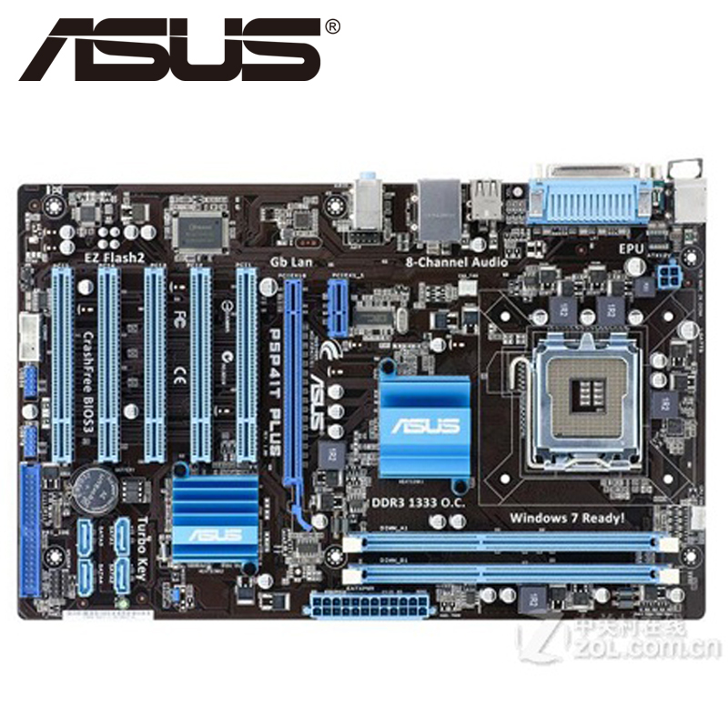 Asus P5P41T PLUS  Desktop Motherboard P41 Socket LGA 775 Q8200 Q8300 DDR3 8G ATX UEFI BIOS Original Used Mainboard On Sale asus p5k se epu original used desktop motherboard p35 socket lga 775 ddr2 8g sata2 usb2 0 atx
