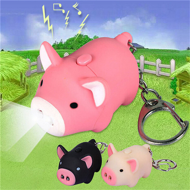 Novidade led night light bonito porco chaveiro lanterna led anéis de som Criativo crianças brinquedos porco dos desenhos animados de som luz para as crianças luz