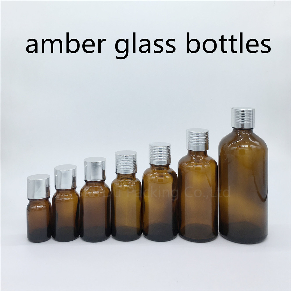 5ml 10ml 15ml <font><b>20ml</b></font> 30ML 50ml 100ml amber <font><b>Glass</b></font> <font><b>Bottle</b></font> <font><b>Vials</b></font> Essential Oil <font><b>Bottle</b></font> <font><b>with</b></font> silvery <font><b>screw</b></font> <font><b>cap</b></font> Perfume <font><b>bottle</b></font> image