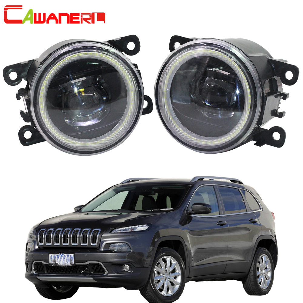 Cawanerl For Jeep Cherokee KL 2014 2015 2016 Car H11 LED Lamp Fog Light Assembly 4000LM