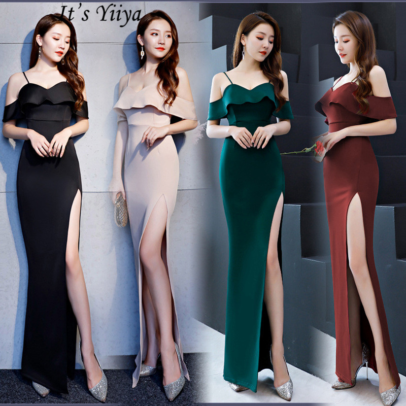 Mermaid   Prom     Dress   Sexy Sleeveless floor-length nightclub style   dress   Boat neck Pink Green Red Black Elegant evening   dress   C019