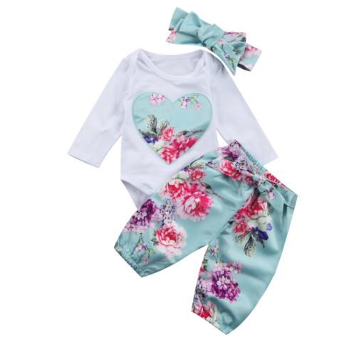 Newborn Baby girls clothes Kids Floral 3PCS Set Cute Flower printed Babysuit Pants Headband Infant Toddle girl clothing Outfit