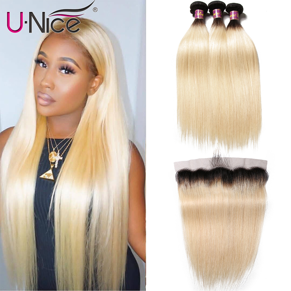 Unice Hair 1B 613 Dark Roots Blonde Ombre Brazilian Straight Hair 3 Bundle with 13x4 Lace