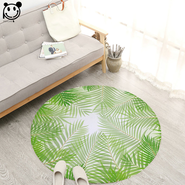 PEIYUAN High Quality Bedroom Carpet Green Plant Leaves Kids Room Round Rugs  Living Room Doormat Cartoon