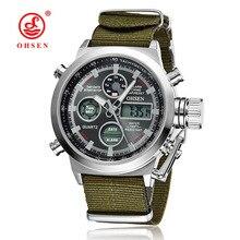 De luxe OHSEN Militaire Sport Montre Numérique Toile Sangle Hommes Montre de Haute Qualité Xfcs Montre-Bracelet Relogio Masculino Relojes Hombre