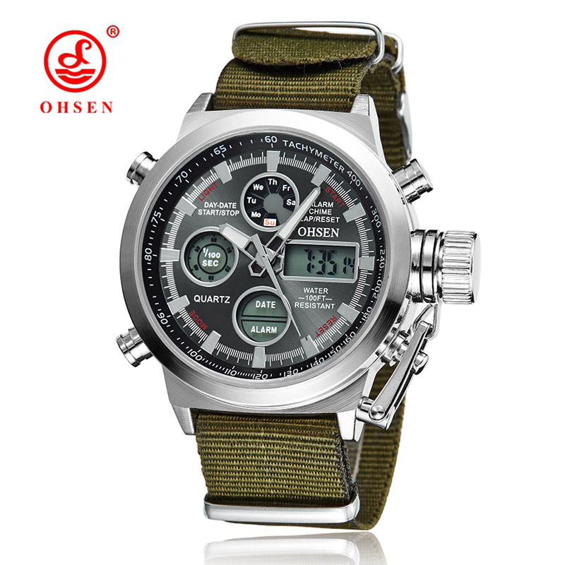 Luxury OHSEN Military Sport Watch Digital Canvas Strap font b Men s b font Watch High