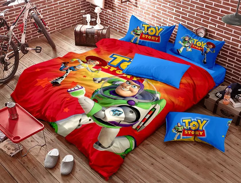 Toy Story Bedding Bedding Set Red Blue Kids Cartoon Queen Size Doona