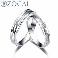 ZOCAI Новый Дизайн свадебные кольца пара Для мужчин Ring 0.07 CT Для женщин кольцо Главный камень 0.04 ct настоящий Сертифицированный кольца с бриллиа