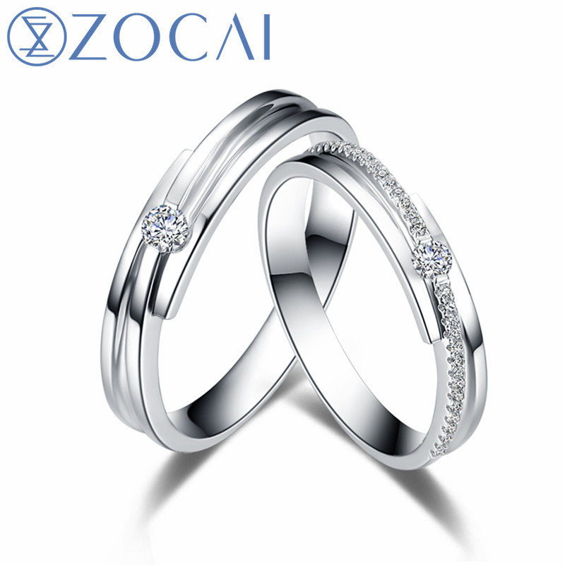 ZOCAI New Design Wedding Couple Ring Men ring 0.07 CT Women Ring Main stone 0.04 CT Real ...