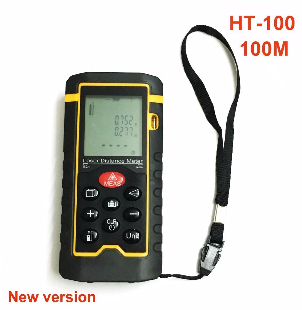 HT-100  Laser Rangefinder 100m 328ft  Laser Distance Meter 100m 328ft distance tester Measure Area/Volume Tool + leather case  ht 305 ht305 digital laser distance meter prices