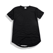 Summer Mens Ripped T Shirts Hip Hop Extended  Hem T-shirts Streetwear Loose Tops Tees For Male Fashion