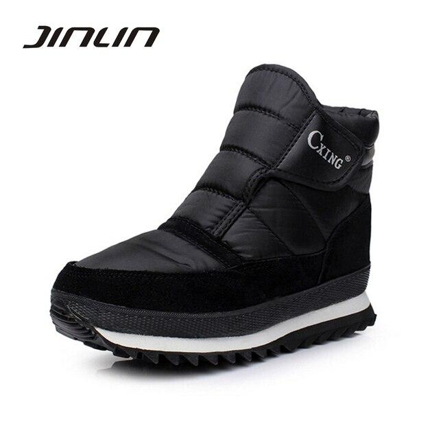 Мужчины сапоги зимние 2016 мужчины обувь Плюшевые теплые Ботинки Снега плоский Черный лодыжки сапоги модные Зимние Ботинки размер 39-46