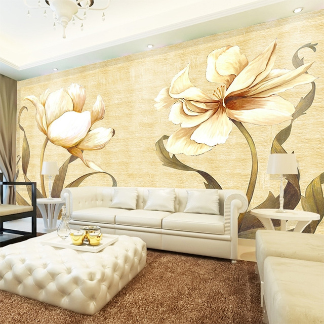 beibehang Custom Wall Mural Wallpaper Retro Oil Painting Flower Hand