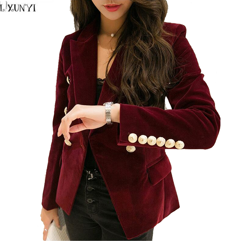 2019 Autumn Velvet Blazer Women Slim Long Sleeve ladies Blazers feminino OL Formal Work Small Suit jacket Women Gold Button