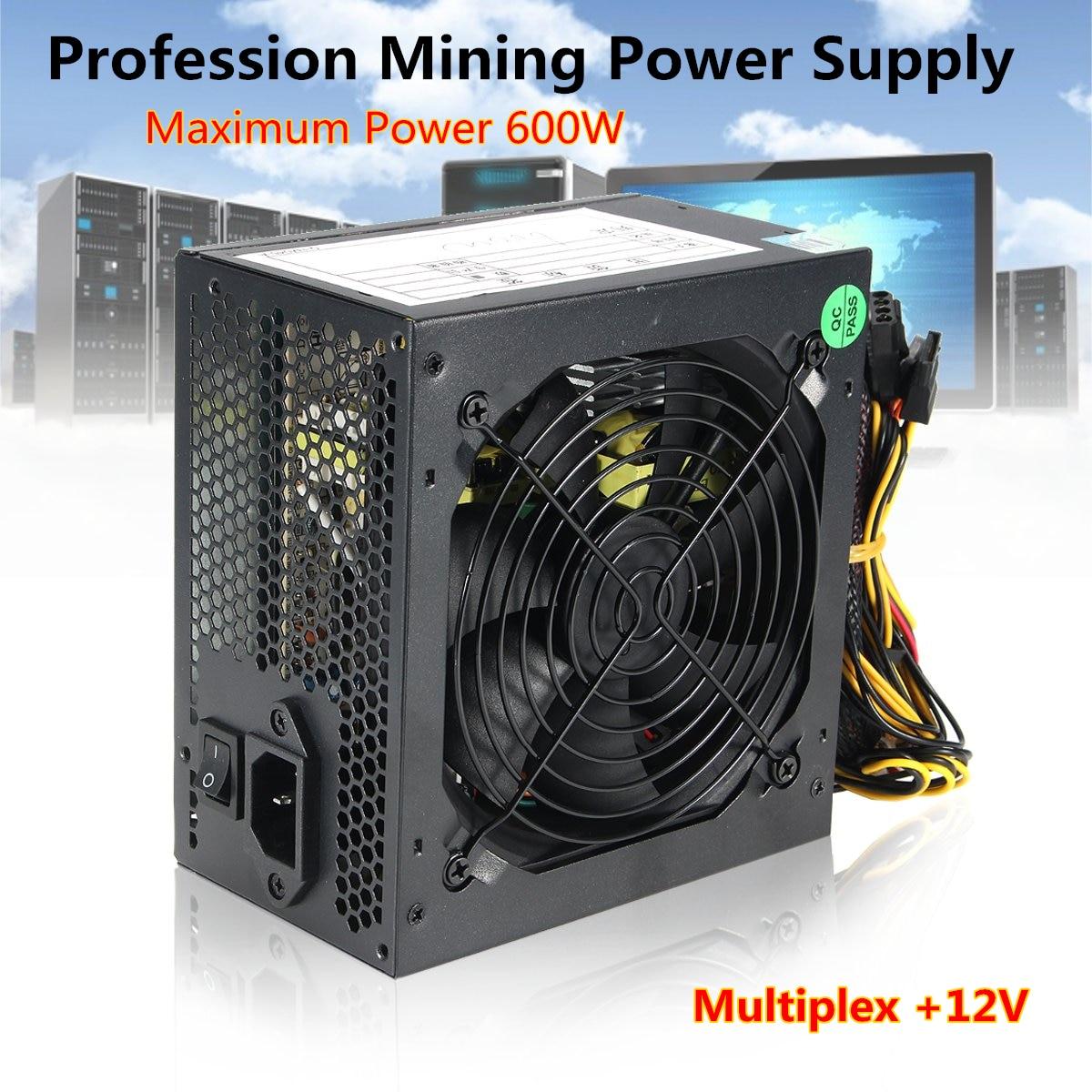 600 W PC PSU fuente de alimentación negro Juego silencioso 120mm ventilador 20/24pin 12 V ATX equipo nuevo alimentación para BTC