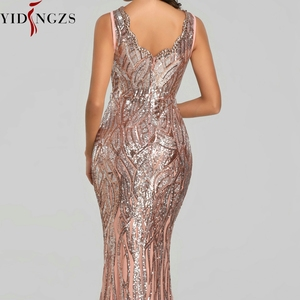 Image 5 - YIDINGZS חדש פורמליות פאייטים שמלת ערב 2020 V צוואר ואגלי ערב מסיבת שמלת YD360