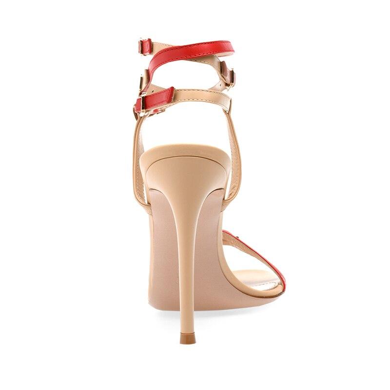 Moda Multi Fivela Sandália Enjaulado Sandálias de Salto Stiletto Mulheres Brancas de Tiras de Salto Alto Sapatos de Saltos Altos Das Senhoras Vestido de Festa de Verão - 4