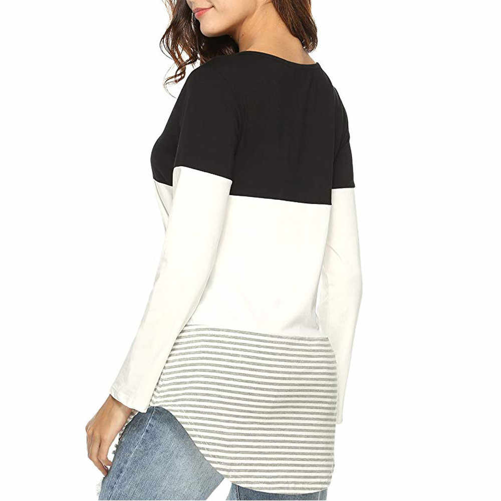 Dropship Women Bouse Long Sleeve Striped Tops Daily Casual Patchwork Stretchy Blouse Spring Sport Girls Full Shirt 0309