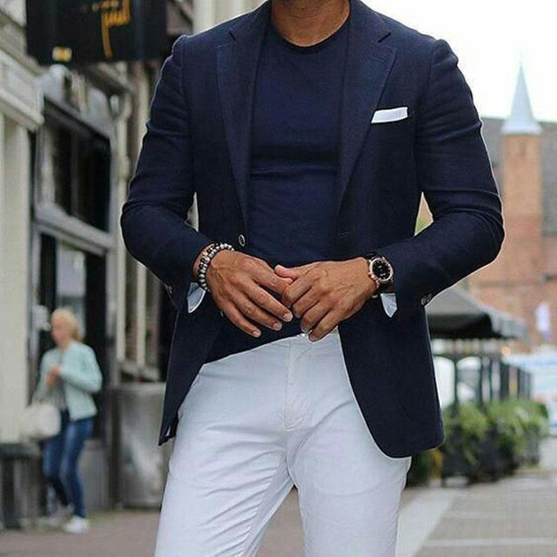 Navy Blue Mens Suits with White Pants Groom Wedding Tuxedos Groomsmen Blazers Jacket Slim Fit Terno Masculino 2Piece Coat Pants