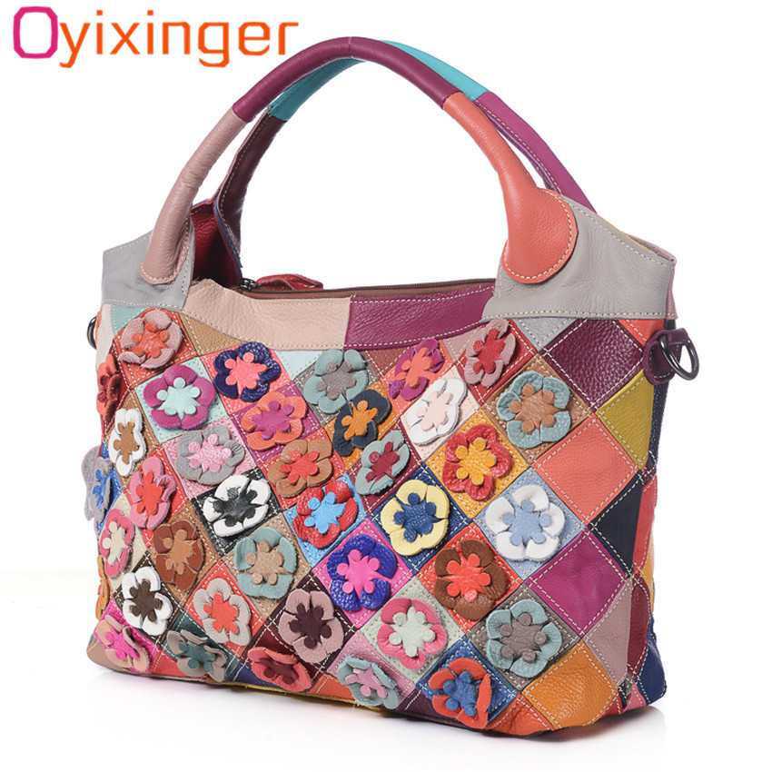 все цены на Oyixinger Ladies Large Shoulder Bag 2018 Famous Brand Genuine Cowhide Leather Women Handbags Flowers Tote Patchwork Colorful Bag