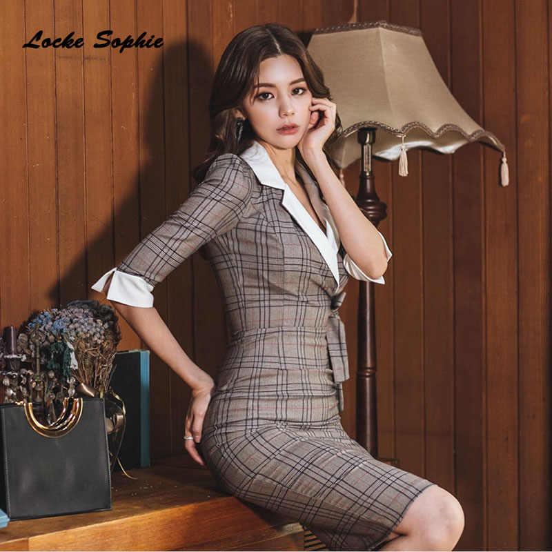 1 шт., женские вечерние платья с высокой талией, плюс размер, осень 2019, смесь хлопка, комбинированное клетчатое приталенное платье, женское обтягивающее офисное платье