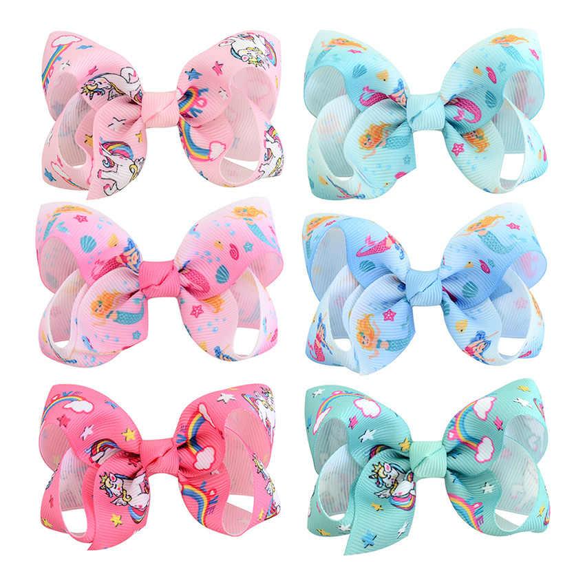 Разноцветные банты для волос для маленьких девочек с принтом единорога и русалки, 12 пар, 3 дюйма, маленькие зажимы для волос для малышей, Детские аксессуары для волос