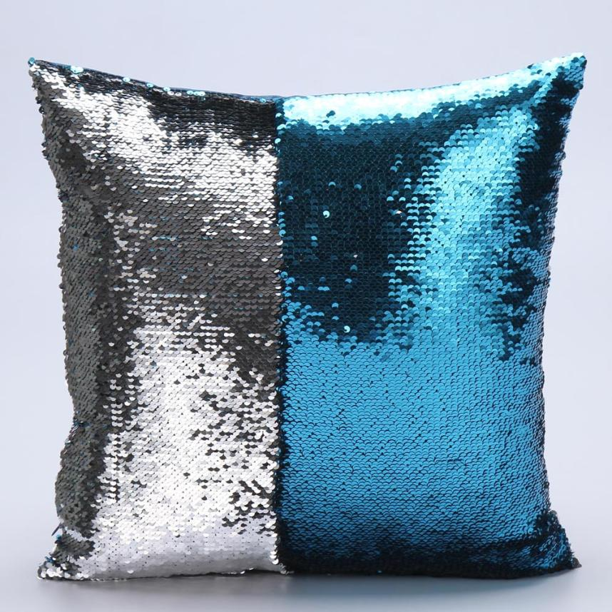 2018 Pillow Case 40*40 DIY Two Tone Glitter Sequins Throw Pillows Decorative Cushion Covers F Free Drop Shipping F9