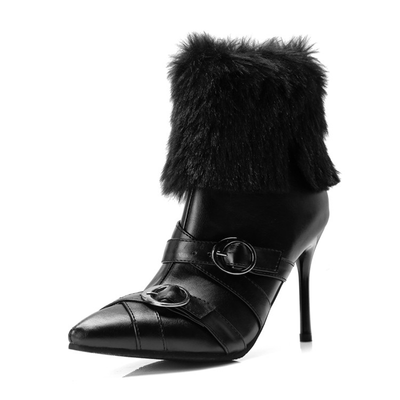 Women Ankle Boots Real Rabbit Hair High Heels Pointed Toe Winter Boots With Fur Gray Shoes Woman Winter Snow Boots Women black ankle boots women high heels pointed toe sexy snow boots woman shoes rivets winter women boots with fur botas mujer b 0197