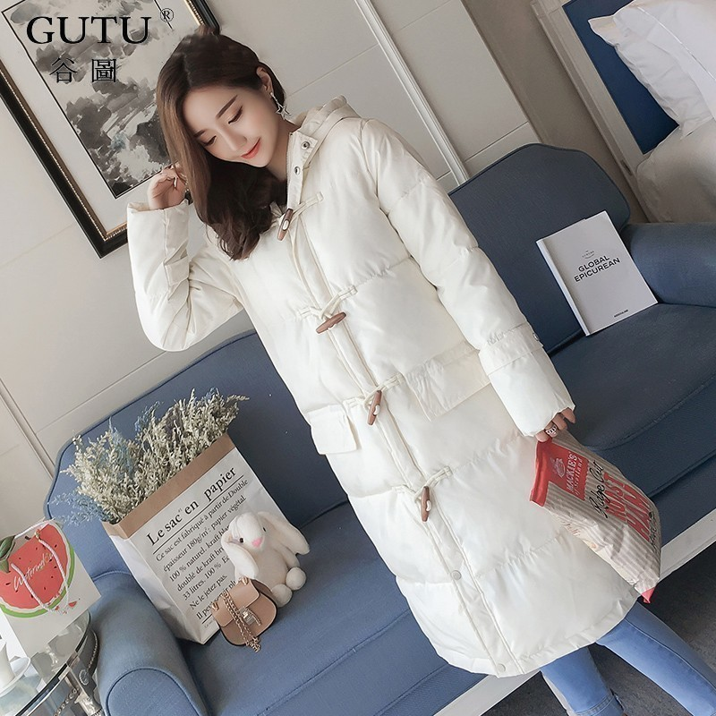 [GUTU]2017 Autumn And Winter New Korean Solid Color Long Sleeves Hooded Collar Wide-waisted Horn Button Coat Woman E102311 купить