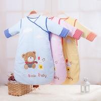 Newborn Baby Sleeping Bag Thickening Detachable Sleeves Spring Summer Winter Organic Cotton Infant Sleeping Bag Keep