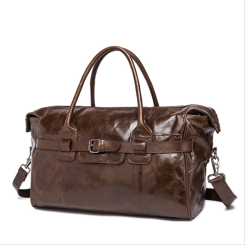 PNDME vintage genuine leather men 39 s travel bag soft top layer cowhide large capacity duffle bag weekend bag handbags for men in Travel Bags from Luggage amp Bags