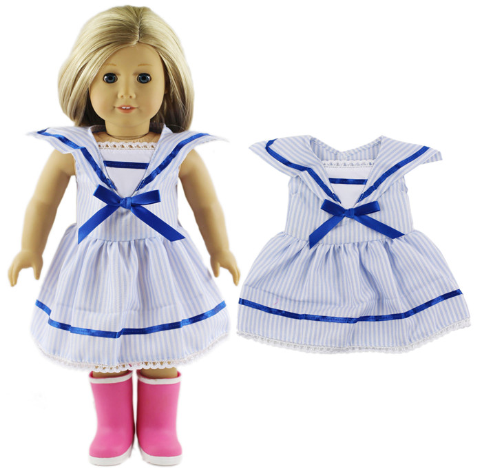 2016 New Style High Quality Blue Stripy School Uniform Outfit For 18 Inch American Girl
