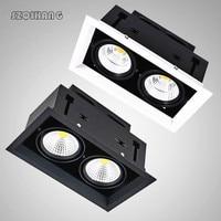 2*10 W/2*12 W/2*15 W LED foco de rejilla regulable LED frijoles lámpara gran potencia Lumen Led parrilla blanca/Negro/plata 85-265V