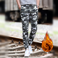 Winter fleece classic camouflage military cargo pants leisure trousers elastic waist pants casual plus velvet jogger pants