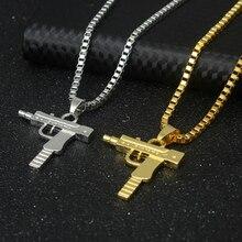 Unisex Mens Gun-shaped chain belt necklace Army Machine Gun Shape Pendant Necklace Long Chain Fashion Jewelry