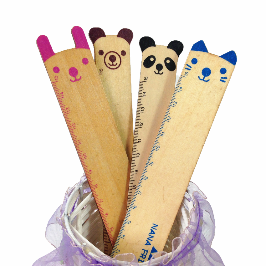 1pcs/lot Novetly Animal Design Students'DIY Wooden Ruler Kawaii Gift For Kids Drawing Straightedge Decoration Shoot Props