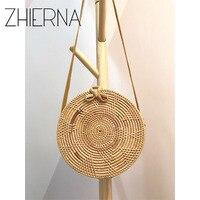 ZHIERNA Summer Vintage Handmade Crossbody Leather Bag Round Straw Beach Bag Girls Circle Rattan Bag Small