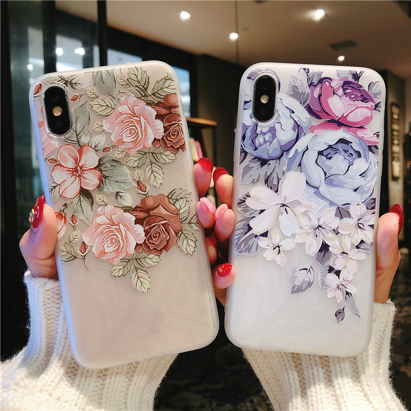 3D Relief Rose Peony Flower Covers For Samsung Galaxy A70 A60 A40 A30 A50 A20e A10 A9 A7 A6 A8 Note 8 9 S7 S8 S10 Plus S10e Case