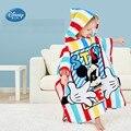 Toalla de baño con capucha de algodón de Mickey Minnie 100% de Disney con botón a presión niños dibujos animados niña niño verano capa Toalla de baño 76 cm * 127 cm