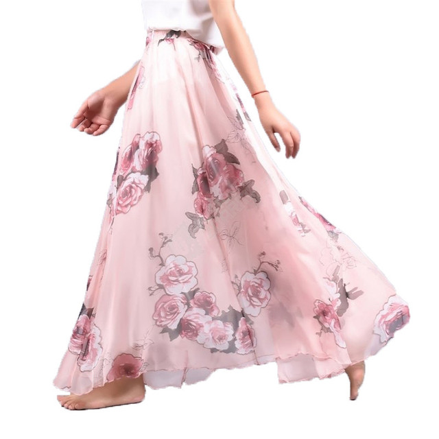 Elegant Summer 2018 Women Long Skirt Chiffon Saia Beach Bohemian Maxi Skirts High Waist Tutu Casual 1
