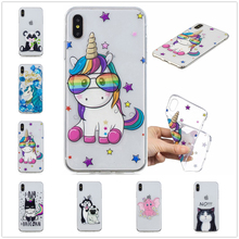 Lovely for IPhone XS Max Case XR Back Cover Cartoon Unicorn Funda for IPhone X 8 7 Plus 6 6S TPU coque 5 5S Se Pretty Phone Case цена и фото