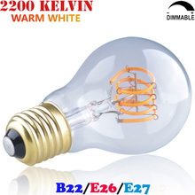A19 E26 Medium Edison Screw/Large Bayonet Cap ES/BC Spiral LED Curved Filament Light Bulb 3W E27 B22 Ampoule LED Bombilla A60