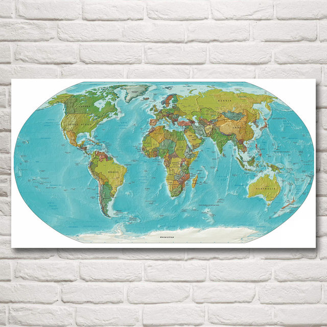 World map national geographic art silk fabric poster prints 11x20 world map national geographic art silk fabric poster prints 11x20 16x29 20x36 inches wall home decor gumiabroncs Gallery