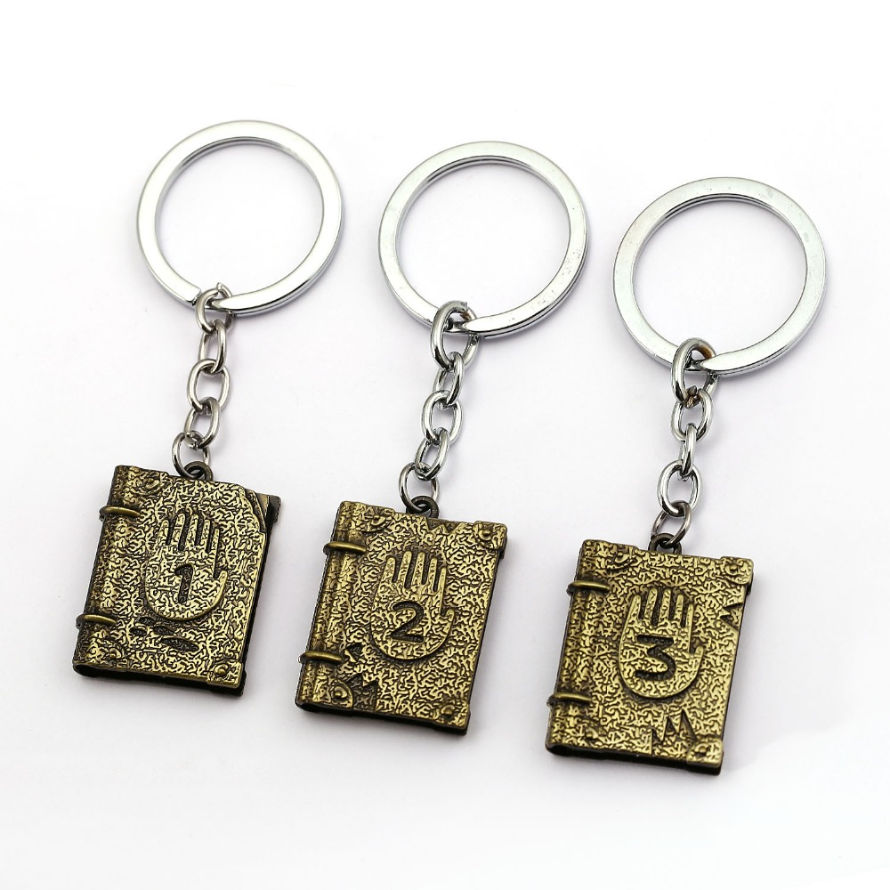 12pcs/lot Gravity Falls 3 Dipper Diary Keychain Mystery Book Eye Metal Key Chain Ring Holder Chaveiro Childrens Gift llaveros