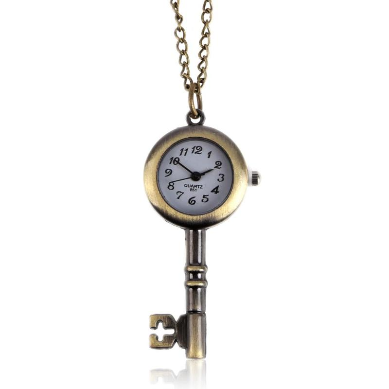Hot Retro Pocket Watch Necklace Classic Chinese Style Key Love Quartz Clock Women Watches Fashion Female Gift карманные часы#28